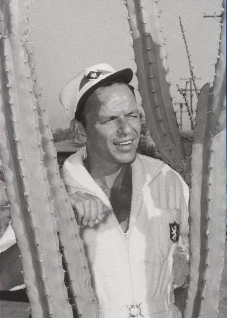 Frank Sinatra in a Cactus of his Palm Springs, CA home