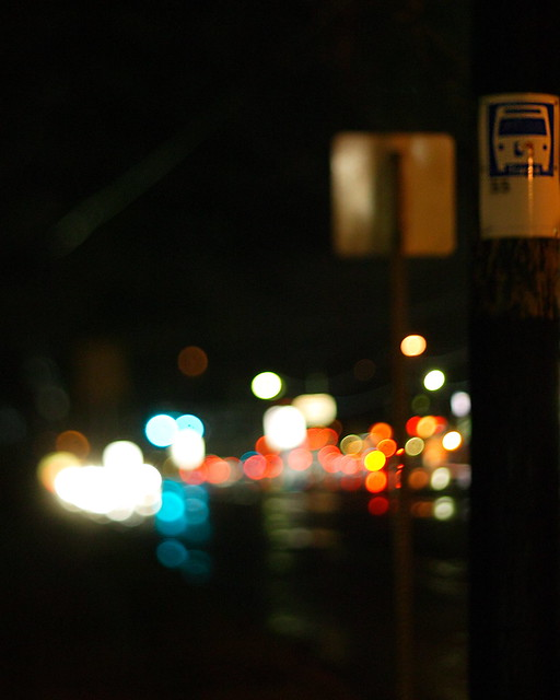 A Rainy Night At The Bus Stop