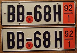 GERMANY, BOBLINGEN 1992 ---TEMPORARY TOURIST PLATES SIZED FOR for AMERICAN VEHICLES