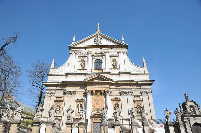 Baroque facade of Jesuit church of St. Peter and St. Paul's