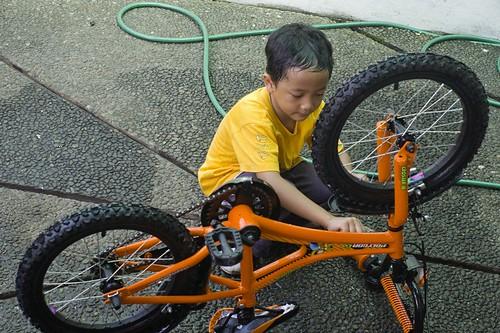 I wash my bike by myself