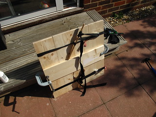 Table top clamped and strapped while gluing | by lilspikey