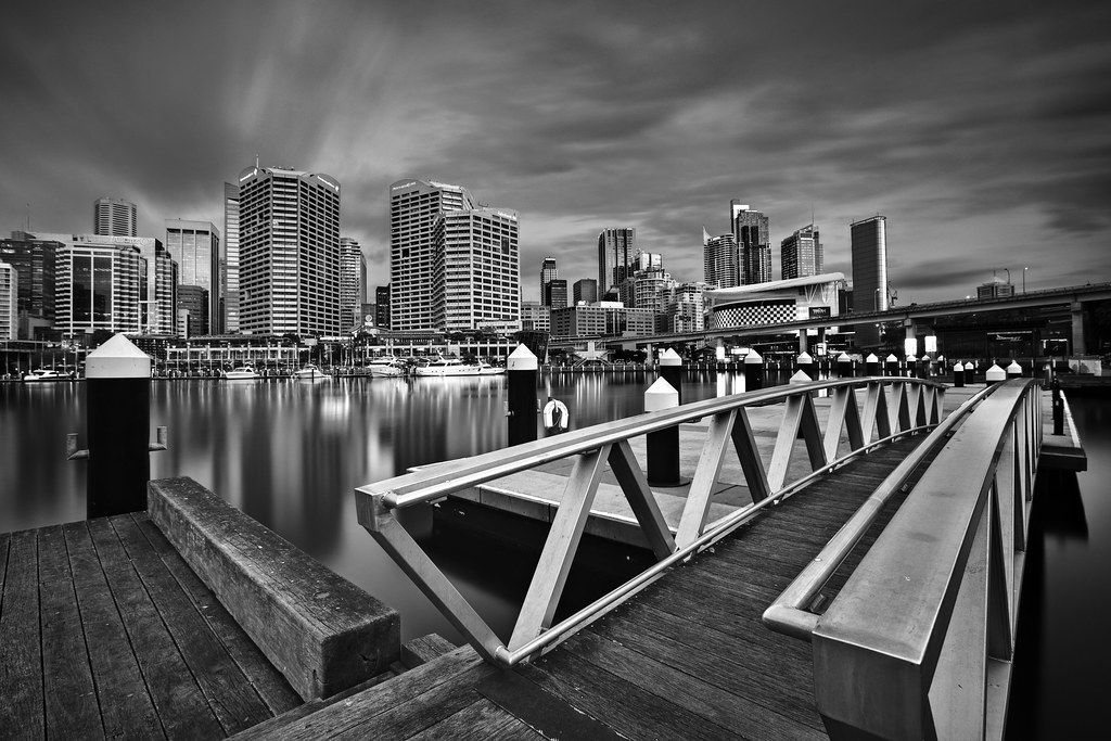 Image: Darling Harbour by Twilight (B&W)