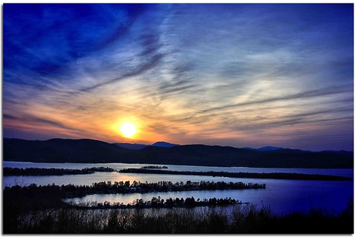 sunset sky sun lake ny newyork water clouds canon spring adirondacks lakegeorge waterfallguy