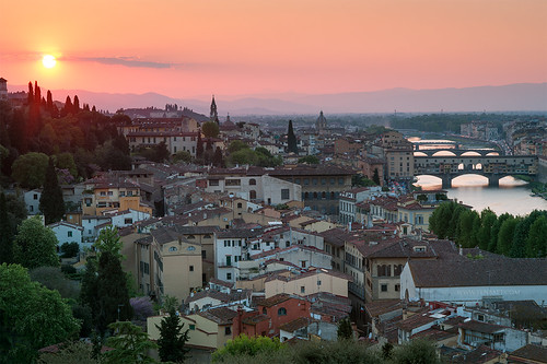 Italian Florence: Sunset View Of Florence From Piazzale Michelang