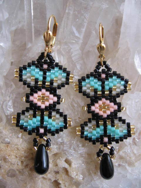 Bead Woven Stained Glass Earrings