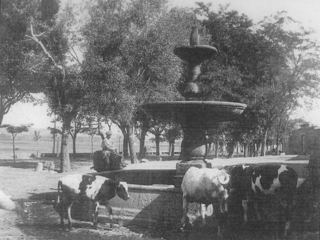 Fuente en el Paseo de la Rosa de Toledo a comienzos del siglo XX