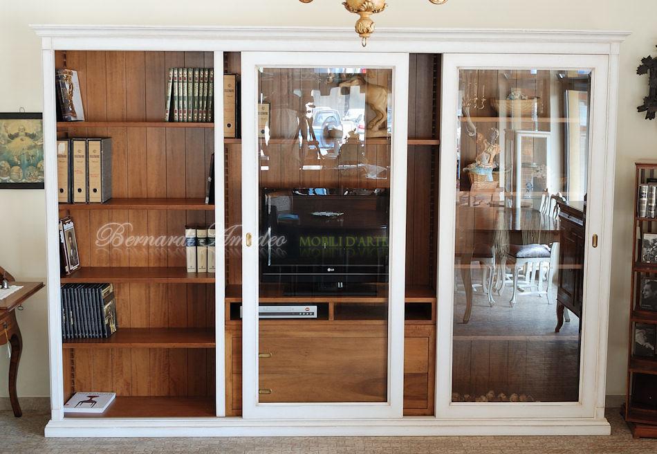 Ante Scorrevoli In Vetro Per Mobili.Lb65 Libreria Porta Tv Con 2 Ante Scorrevoli A Vetro La Flickr