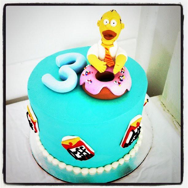 Pleasing Homer Simpson Birthday Cake Polkadots Olga Flickr Funny Birthday Cards Online Sheoxdamsfinfo