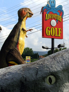 Adventure Golf: Sign with T-Rex and Jaws | by SeeMidTN.com (aka Brent)
