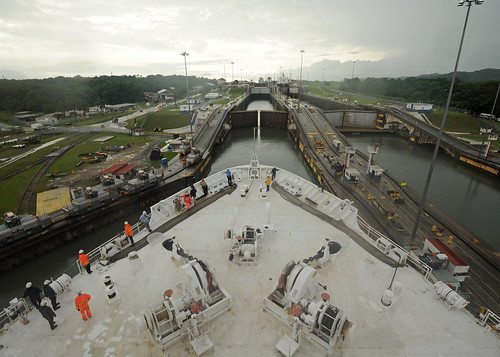 USNS Comfort transits the Panama Canal.   by Official U.S. Navy Imagery
