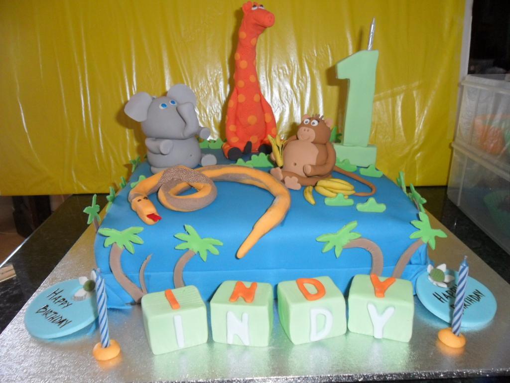 Marvelous Jungle Animals Birthday Cake First Time Modelling Animals Flickr Funny Birthday Cards Online Benoljebrpdamsfinfo