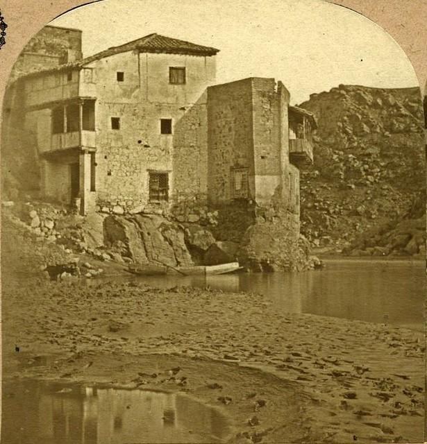 Casa del Diamantista en 1857. Fotografía estereoscópica de Eugène Sevaistre. Colección Luis Alba. Ayuntamiento de Toledo