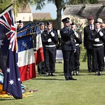 110419 Leading Aircraftman Sean Rankin plays the last post at Flight Lieutenant Henry %u2018Lacy%u2019 Smith%u2019s funeral service at the Ranville War Cemetery, France