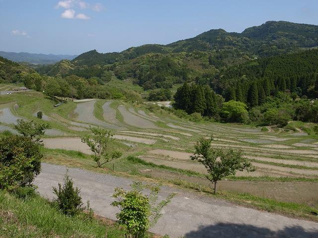 <p>k)作業が終わり、気持ちよい風に吹かれて田んぼを眺める</p>