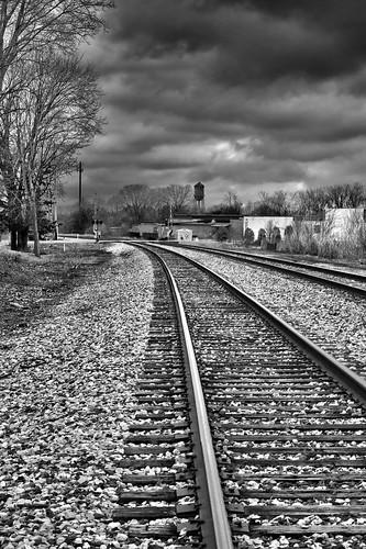 sky bw white black train track hdr