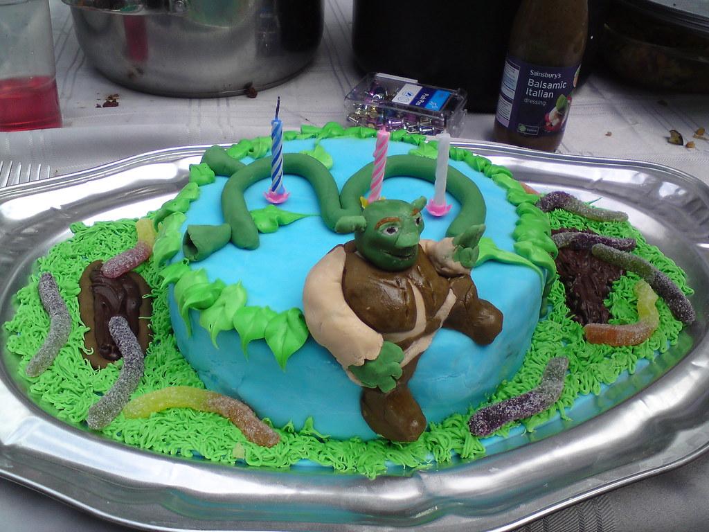 Amazing Shrek Birthday Cake It Was Made For My Friend Little Boy Flickr Funny Birthday Cards Online Benoljebrpdamsfinfo
