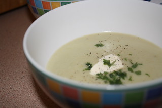Leek, potato & blue cheese soup | by azp74