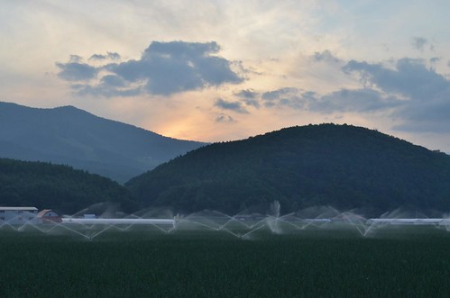 light sunset summer sky cloud mountain mountains green water grass june clouds nikon hokkaido farm farming 北海道 日本 夏 山 空 furano sprinklers 富良野 六月 2011 曇 hokkaidojapan ニコン japantravel 富良野市 6月 beckywithasmile june2011 d5100 summer2011 japan2011 nikond5100