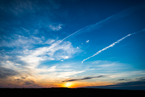 blue sunset sky sun mountain clouds landscape view jet trails scarmackphotography