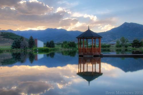 sunset lake mill clouds utah nikon gazebo nikkor midway hdr afs dx 18105mm johnsonmill d7000