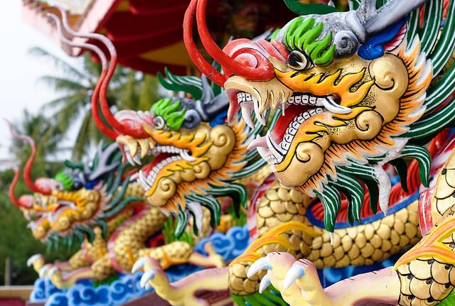 Dragons at Tha Reua Chinese Shrine, Phuket