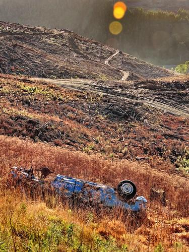 blue car nikon bokeh crashed hill australia victoria vic hillside hilly mva bluecar rolled gippsland motorvehicleaccident mountainous p600 strzeleckiranges westgippsland nikoncoolpixp600 strzeleckis cloverlea phunnyfotos