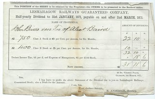 Lesmahagow Railways Guaranteed, Railway dividend 1871 | by ian.dinmore