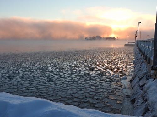 ice freezing freezingweather sea water fog seafog misty mist sky dawn sunrise helsinki finland beautifullight