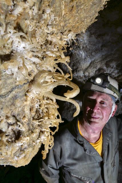 Gypsum flowers, Bill Walter, Crystal Chasm, Cumberland Caverns, Warren County, Tennessee