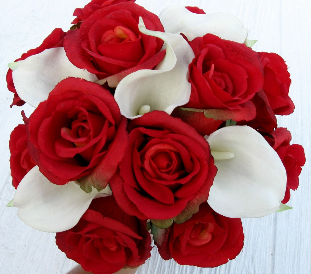 Realistic Red Rose White Calla Lily Bridal Bouquet Flickr