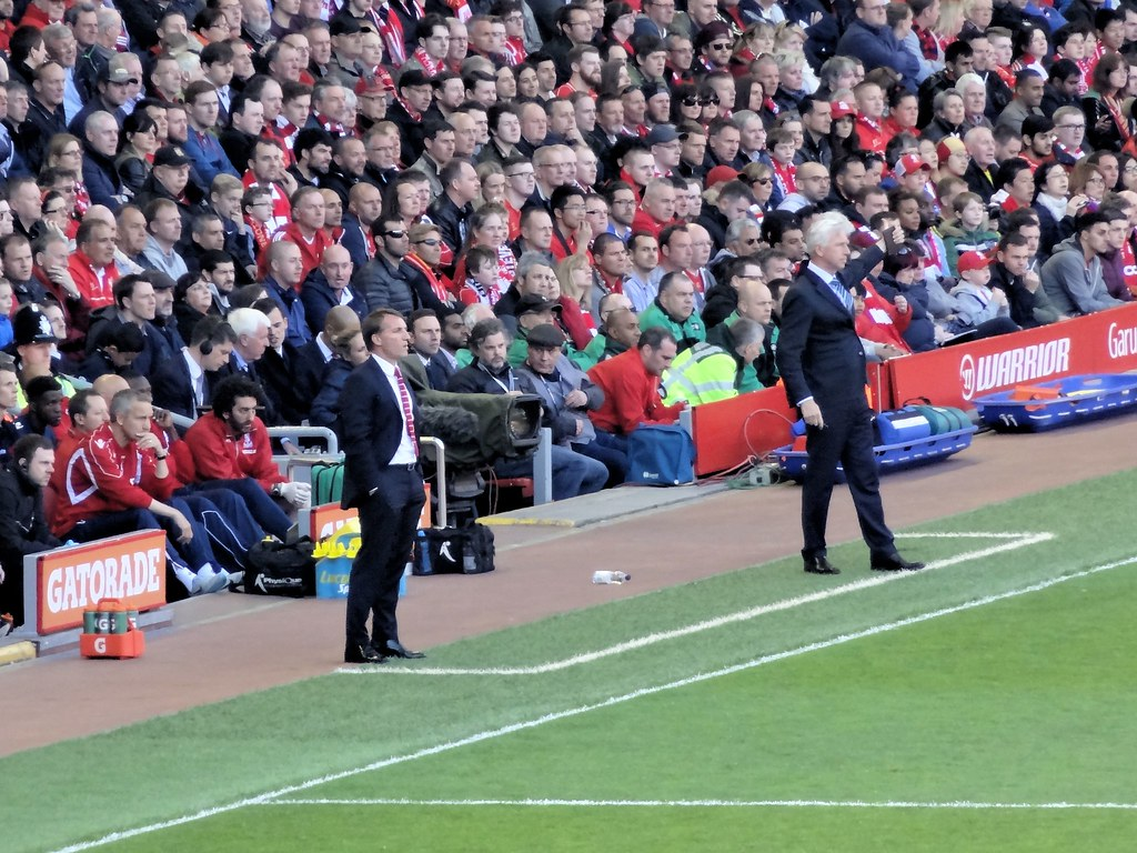 Rodgers and Pardew on the touchline