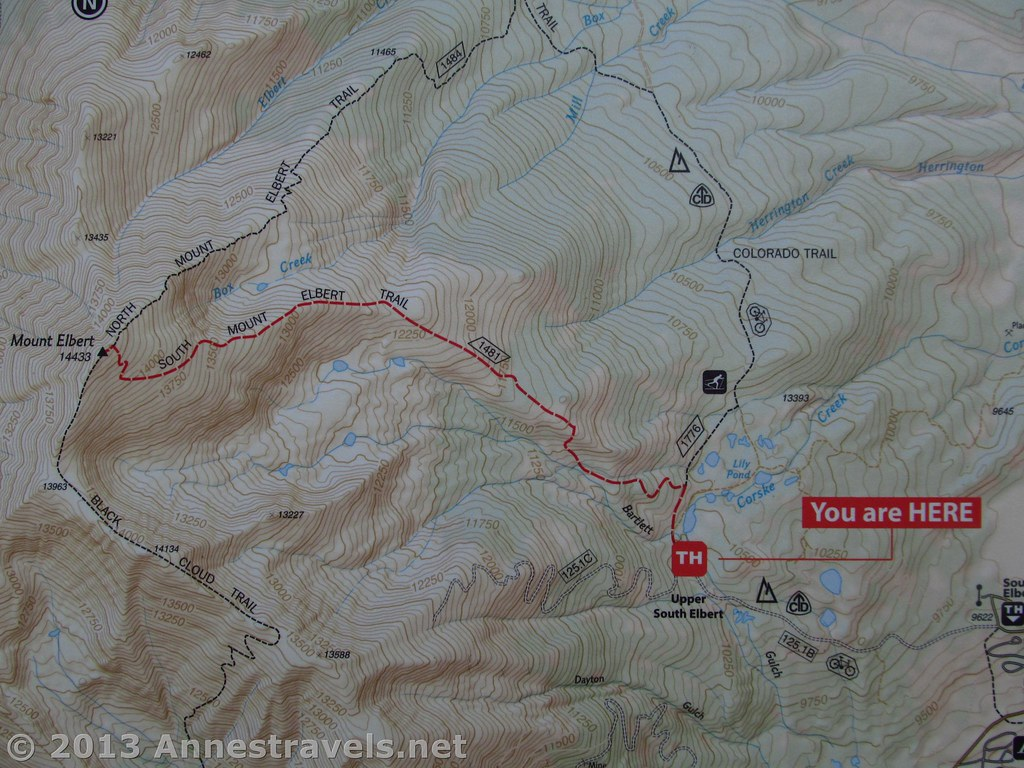 South Mount Elbert Trail Topo Map | Topo Map / Trail Map of