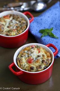 Make-Ahead Baked Egg Recipe with Turkey Sausage, Mushrooms & Tomatoes   cookincanuck.com #recipe #breakfast #eggrecipe   by CookinCanuck