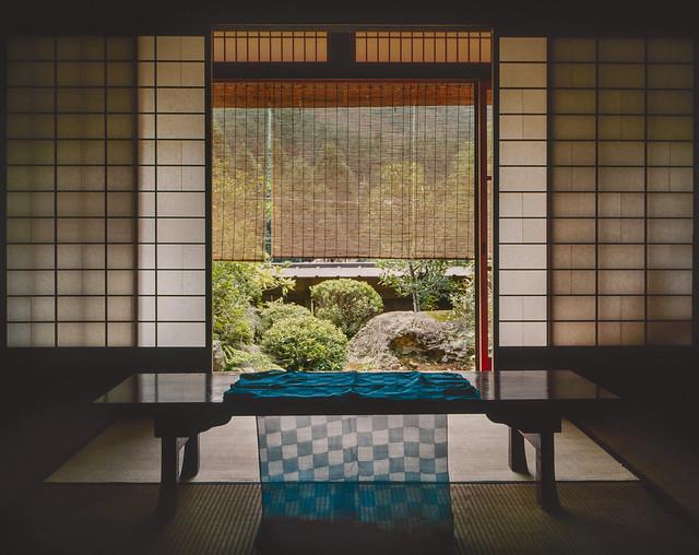 Traditional Japanese house interior. Woven indigo textile - Ohara