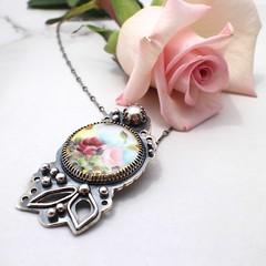 Vintage Porcelain Button Necklace