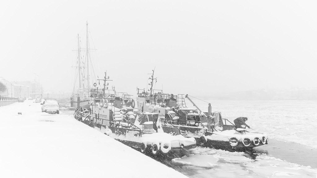 Snowstorm on Neva river