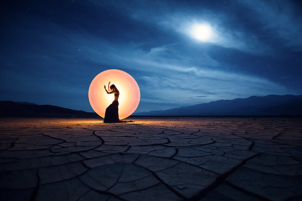 Light-painting in Death Valley