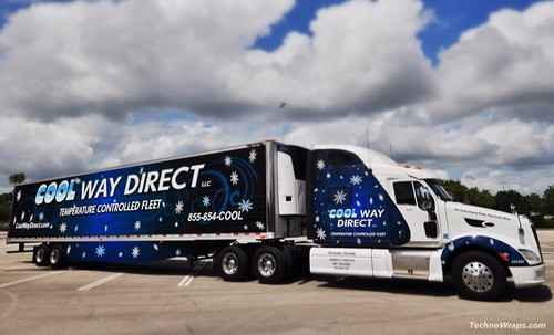 18 wheeler semi cab and trailer wrap by TechnoWraps in Orlando