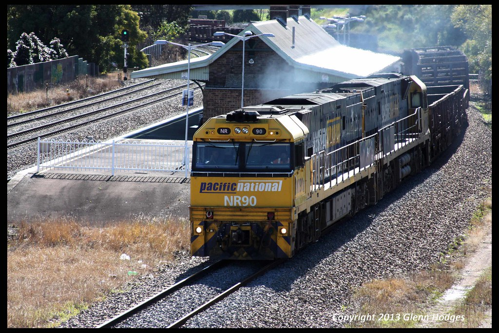 NR90 leading Pacific National freight through East Maitland by glenn5108