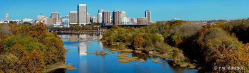 thejamesriver richmond virginia va usa river city skyline autumn waterway reflection