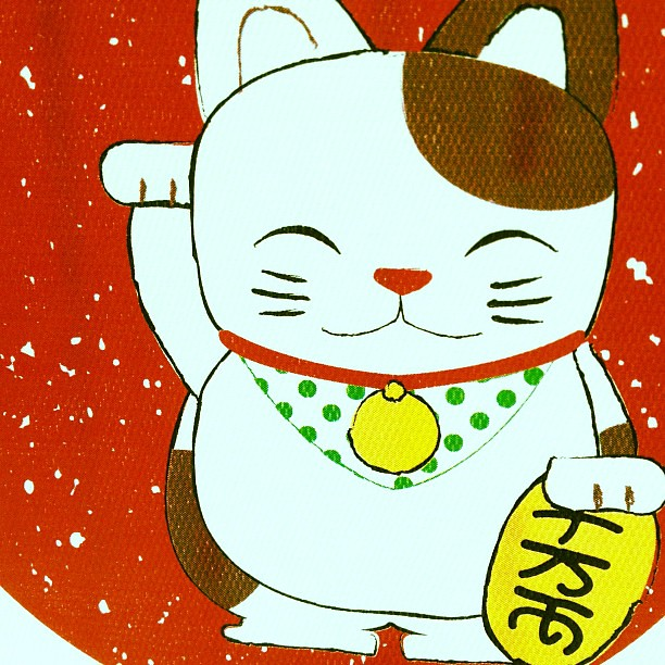 Maneki Neko Good Luck card for sale at @publicgarden. We're open until 7 PM tonight