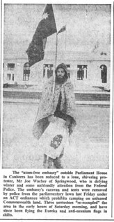 Atom Free Embassy, parliament House lawns, Aug 06 1981 - SMH clipping