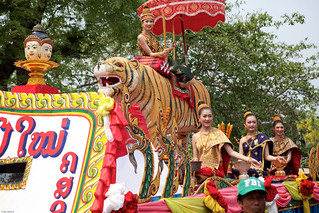 laos-luang-prabang-laos-new-year-phi-mai-lao-beauty-contest-winners-riding-on-tiger-float-in-parade-tiger trail-cyril-eberle CEB-7034.jpg | by Tiger Trail Laos
