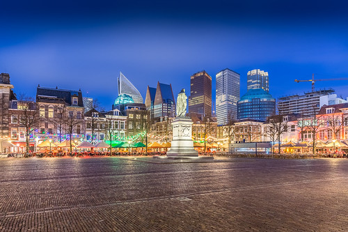 city blue netherlands skyline square denhaag hour nl plein thehague steden zuidholland canon1635f4lisusm lightroomcchdr