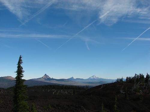 Belknap Crater, Mt. Washington, Three Fingered Jack, Mt. Jefferson & Mt. Hood