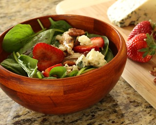 Strawberry Salad with Roasted Chicken, Toasted Pecans, Blue Cheese, and a Honey Balsamic Vinaigrette | by Michael Beyer Photography