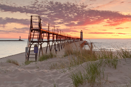 sunset lighthouse beach water canon landscape outdoors pier michigan lakemichigan greatlakes channel manistee westmichigan manisteemi canonef24105mmf4lisusm canoneos7d