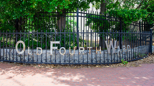 """Old Fourth Ward"" lettering on Iron Rail Fence in #Atlanta 