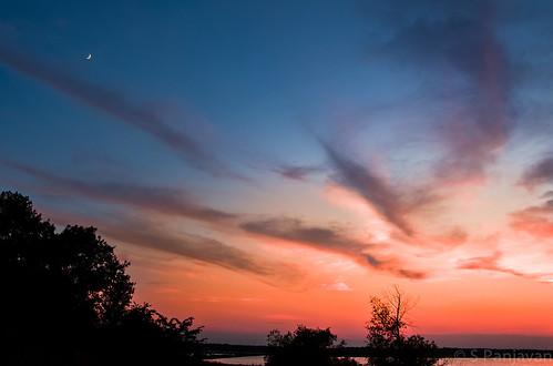 sunset sky moon clouds lavonlake